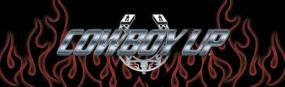 Cowboy Up Chrome Horseshoe  Rear Window Graphic