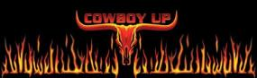 Cowboy Up Longhorn Flame  Rear Window Graphic